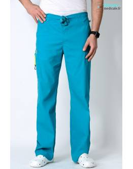 Pantalon Médical Homme Anti Taches Code Happy Bleu Lagon 16001AB