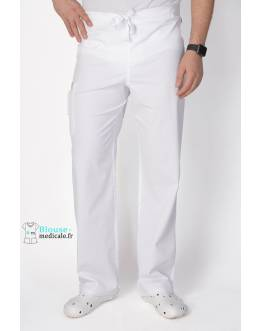 Pantalon Médical Homme Anti Taches Code Happy Blanc 16001AB