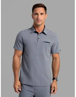 "Tunique Jaanuu Homme ""Polo Top"" Gris Chiné"